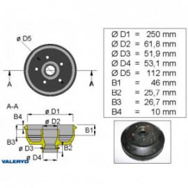 Brakestore Tambour de frein BPW S2504-5, S2504-7- 5 trous