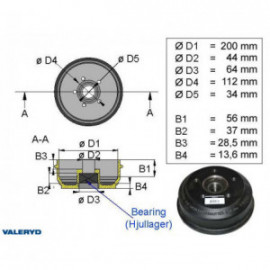 Brakestore Tambour de frein BPW S2005-7- 5 trous