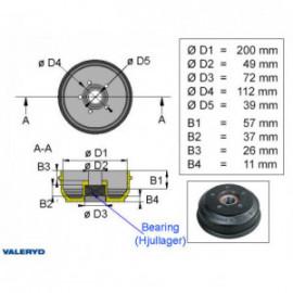 Brakestore Tambour de frein BPW S2005-7- 5 trous - 1500kg