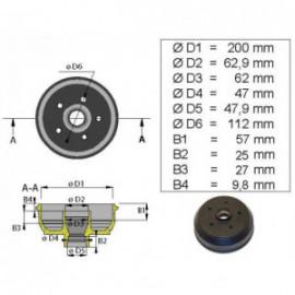Brakestore Tambour de frein Knott S2005-5 - 5 trous